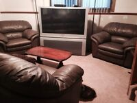 European hand crafted leather couch and chair set