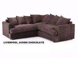***⚫GREY BLACK CREAM ALL COLOR AVAILABLE⚫Dylan Jumbo Cord Corner Sofa Suite - SAME/NEXT DAY DELIVERY