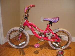 "16"" GIRLS ""BARBIE"" BICYCLE WITH TRAINING WHEELS"