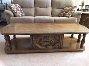 Wood Coffee Table With Glass Top