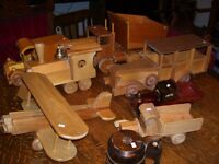 Eight Wooden Toys (trucks, planes, cars, trains)