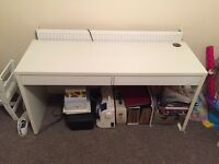 IKEA white sideboard with 2 sliding draws