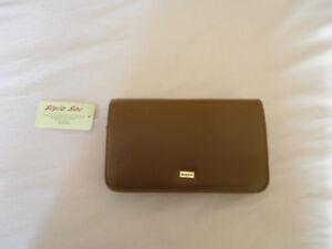 Vintage Buxton brown leather wallet keychain cheque book - NWT