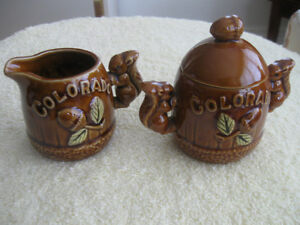 ADORABLE VINTAGE 3-PC. POTTERY CREAM & SUGAR SET