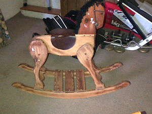 Solid maple rocking horse