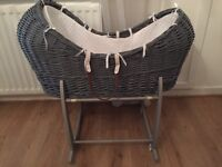 Grey Clair de lune Moses basket pod and rocking stand