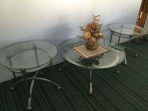 Beveled Glass Top Coffee and End Tables