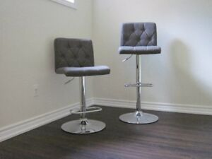 Two Bar Stools Adjustable Height, Grey Fabric Seat and Back