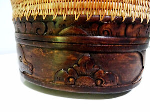 DOUBLE TIER basket lidded TURTLE LIZARD FISH carved INDONESIAN Cambridge Kitchener Area image 3