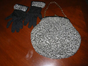 "Retro Purse & Matching Gloves-Gray  ""Poodle Fur"""