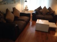 Black leather & Fabric Large 3&2 seater sofa x delivered x
