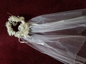 Kids White Satin Gown with White Flowerd headpiece and Veil