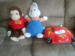 Curious george, max and mcqueen pillow
