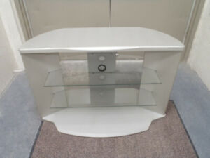 Modern Silver Grey wood and glass corner TV cabinet