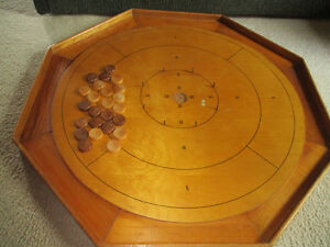 crokinole board vintage with playing pieces