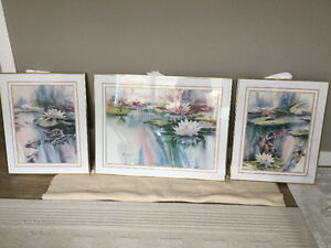Brent Heighton prints framed in brass metal frame with glass