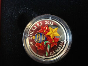 2013 $20 Fine Silver Coin - Venetian Glass Holiday Candy Cane