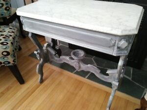 Refinished Accent Table  with Marble Slab Top