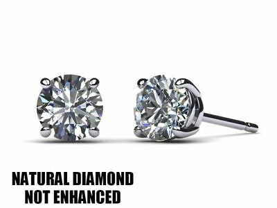 1 CARAT NATURAL DIAMOND SOLITAIRE STUD EARRINGS D VS2 STUD ROUND 14K WHITE -