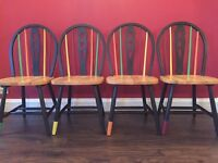 Trendy, cool, one off, bespoke hand painted farmhouse style chairs, seats £30 each