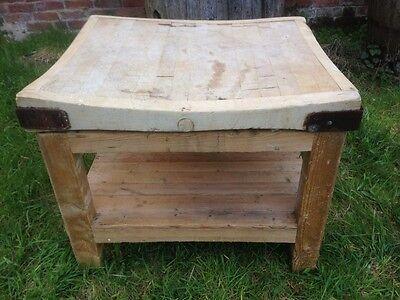 Antique Edwardian Butchers Kitchen Block Chopping Board Table Primitive