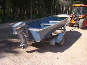 14 foot deep hull aluminum boat, motor & trailer for sale