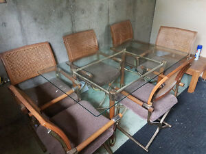 Glass top kitchen table with 6 chairs