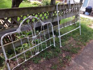 White cast iron bed frame