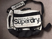 Super Dry black/white laptop messenger bag