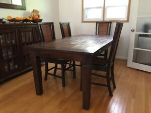 Gorgeous solid teak and lite bamboo dining set with 6 chairs