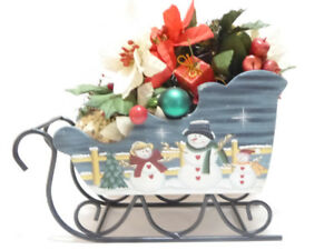 CHRISTMAS LARGE WOODEN SNOWMAN SLEIGH WITH DECORATIONS