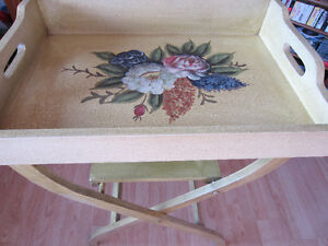 Tea Serving Tray on Folding Table