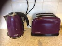Matching purple Russell Hobbs kettle and toaster