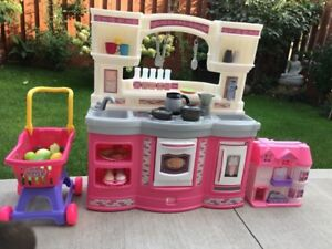 Kids Kitchen Set with Cart and Fruits + Toy house