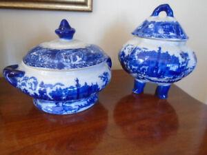 antiquité 2 pots / soupière flow blue en bonne condition