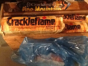 3 Crackle flame duraflame logs and  1 Pine Mountain