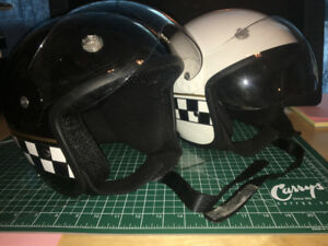 HCI Open-Faced Helmet w/Visor (Checkerboard, Black/White)