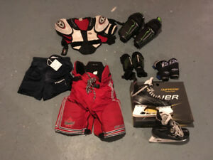 "HOCKEY EQUIPMENT-SKATES,PANTS,ELBOW/SHOULDER PADS, ""NEW"" JOCK"