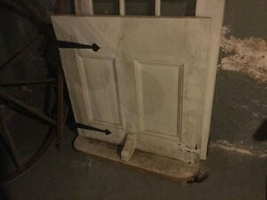Antiques doors, spinning wheel, and more