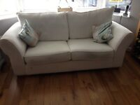 White fabric sofa, blue chair and chaise lounge