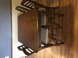 Antique Table with Leaf & 4 chairs