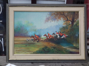 LARGE ORIGINAL OIL PAINTING BY BAJEAUX  HORSE HUNTING SCENE
