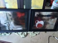 2 piece wall art with glass front