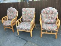 3 WICKER CAN CONSERVATORY CHAIRS OR BEDROOM CHAIRS JOBLOT ** FREE DELIVERY AVAILABLE TODAY **
