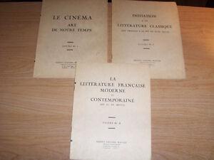 INSTITUT CULTUREL FRANCAIS-LOT OF 3 COURSE BOOKLETS-1940/50S