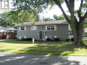 Great backyard with large deck, fireplace, well maintained