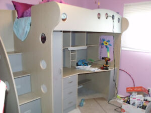 Kids loft bed with desk and closet