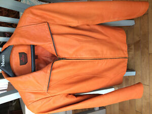 Danier leather soft orange jacket