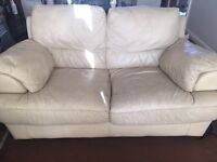 Two and three seater beige leather sofas