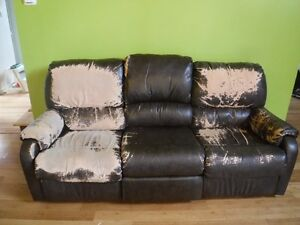 Faux leather couch (reclining with fold down table)